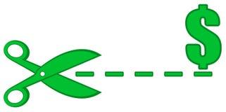 Línea de puntos con las tijeras y símbolo del dinero Fotografía de archivo