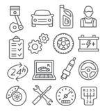 Línea de servicio auto iconos Imagen de archivo libre de regalías
