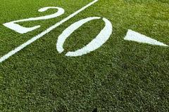 Línea de yardas del campo de fútbol 20 Fotografía de archivo libre de regalías