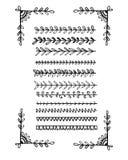 Línea dibujada mano colección de las fronteras Imagen de archivo libre de regalías