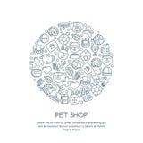 Línea ejemplo del arte del gato, perro, pájaro del loro, tortuga, serpiente Mercancías para los animales, iconos del esquema fija Foto de archivo libre de regalías