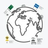 Línea estilo del diagrama de tráfico del mundo. Foto de archivo libre de regalías