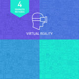 Línea fina Art Virtual Reality Pattern Set Foto de archivo libre de regalías