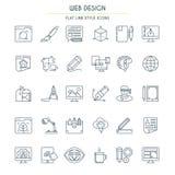 Línea fina iconos del diseño del sitio web Fotos de archivo