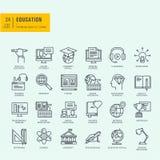 Línea fina iconos fijados Iconos para la educación en línea Fotos de archivo