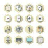 Línea fina iconos para el ocio Fotografía de archivo libre de regalías