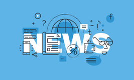 Línea fina moderna concepto de diseño para la bandera del sitio web de las noticias Imagen de archivo libre de regalías