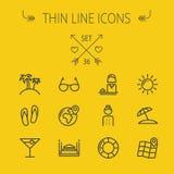 Línea fina sistema del viaje del icono Imágenes de archivo libres de regalías