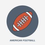 Línea icono del vector del fútbol americano Logotipo de la bola, muestra del equipo Ejemplo de la competencia de deporte Imágenes de archivo libres de regalías