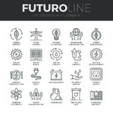 Línea iconos de Futuro del poder y de la energía fijados Imágenes de archivo libres de regalías