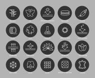 Línea iconos de la característica de la tela fijados Fotos de archivo