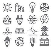 Línea iconos de la energía Foto de archivo