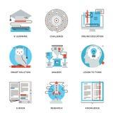 Línea iconos de la solución del aprendizaje electrónico y del hallazgo fijados Imágenes de archivo libres de regalías