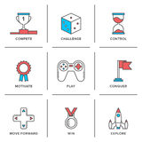 Línea iconos de la ventaja competitiva fijados Foto de archivo libre de regalías