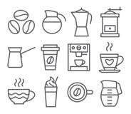Línea iconos del café Foto de archivo libre de regalías