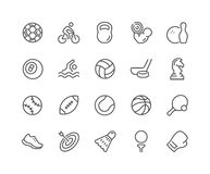 Línea iconos del equipo de deporte Fotografía de archivo