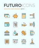 Línea iconos del futuro de la actividad bancaria y de las finanzas Foto de archivo
