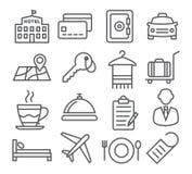 Línea iconos del hotel Imágenes de archivo libres de regalías