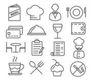 Línea iconos del restaurante Imagen de archivo libre de regalías