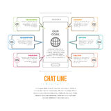Línea Infographic de la charla Imágenes de archivo libres de regalías