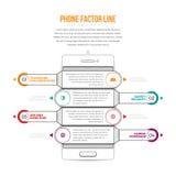 Línea Infographic del factor del teléfono Foto de archivo libre de regalías