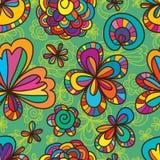 Línea modelo inconsútil del dibujo de la flor Foto de archivo libre de regalías