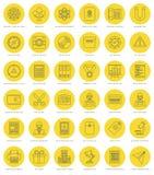 Línea plana iconos simples fijados Movimiento linear fino Foto de archivo libre de regalías