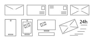 Línea plana sistema del vector del icono Tema de la comunicación Fotografía de archivo