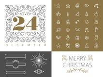 Línea retra diseño determinado del monograma del hispter de la Navidad Fotografía de archivo libre de regalías