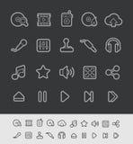 Línea serie del negro de //de los iconos de Media Player Imagen de archivo libre de regalías