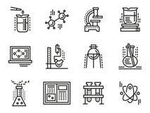 Línea simple iconos de los símbolos de la química fijados Fotografía de archivo
