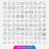 100 línea sistema del icono Fotografía de archivo libre de regalías