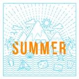 Línea tarjeta de verano del vector del estilo o plantilla plana del fondo con la isla, el océano, las montañas, Palmtrees y los i Fotos de archivo