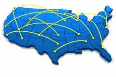 Líneas del establecimiento de una red de Estados Unidos Fotos de archivo