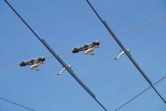 Líneas eléctricas necesarias para el movimiento de los autobuses de carretilla Alambres de la tranvía Imagenes de archivo