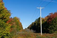 Líneas eléctricas rurales Foto de archivo