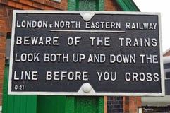 LNER Warning Sign stock images