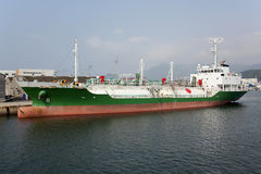 LNG cargo ship. Container cargo ship docked in port Stock Images