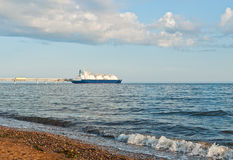 LNG carrier getting liquefied gas Royalty Free Stock Images