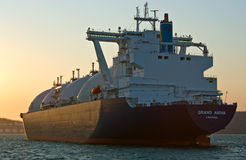 LNG carrier Grand Aniva at sunset on the roads of the port of Nakhodka. Far East of Russia. East (Japan) Sea. 31.03.2014 Stock Photos