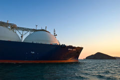 LNG carrier Grand Aniva at sunset on the roads of the port of Nakhodka. Far East of Russia. East (Japan) Sea. 31.03.2014 Stock Photography