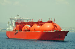 LNG carrier ship for natural gas. LNG carrier ship designed for transporting natural gas anchored Stock Image