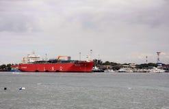 LNG ship in Bali, Indonesia docked stock photo