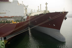LNG ship for natural gas. LNG carrier ship designed for transporting natural gas anchored Stock Photo