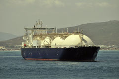 LNG ship for natural gas. LNG carrier ship designed for transporting natural gas anchored Royalty Free Stock Image