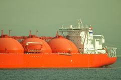 LNG ship for natural gas. LNG carrier ship designed for transporting natural gas anchored Stock Photography