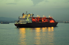 LNG ship for natural gas. LNG carrier ship designed for transporting natural gas anchored Stock Photos