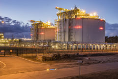 LNG storage tanks, LNG terminal in Swinoujscie, Poland. Night photo Stock Photo