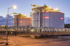 LNG storage tanks, LNG terminal in Swinoujscie, Poland. Night photo Royalty Free Stock Photo