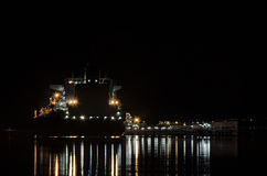 LNG TANKER AT NIGHT Royalty Free Stock Image